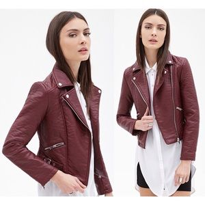 Forever 21 Zippered Faux Leather Moto Jacket S